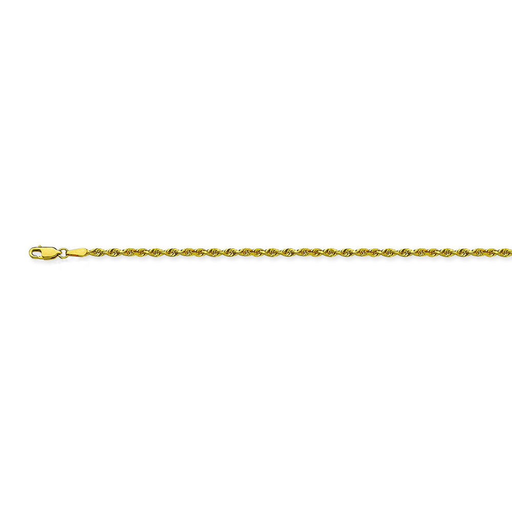 10K Yellow Gold 1.8 Diamond Cut Rope Chain in 16 inch, & 18 inch, 20 inch, & 24 inch