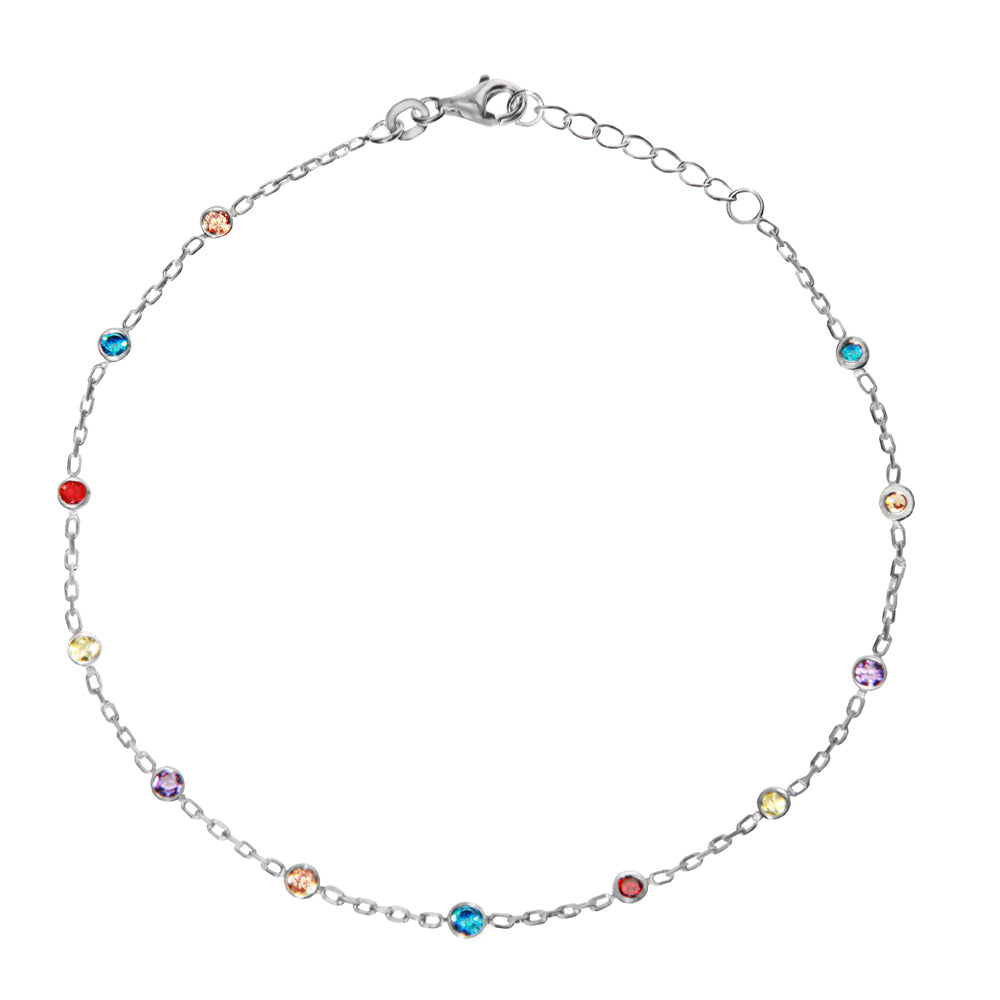 "Sterling Silver 3mm MultiColor CZ Stations Anklet Adjustable 9"" to 10"" length"