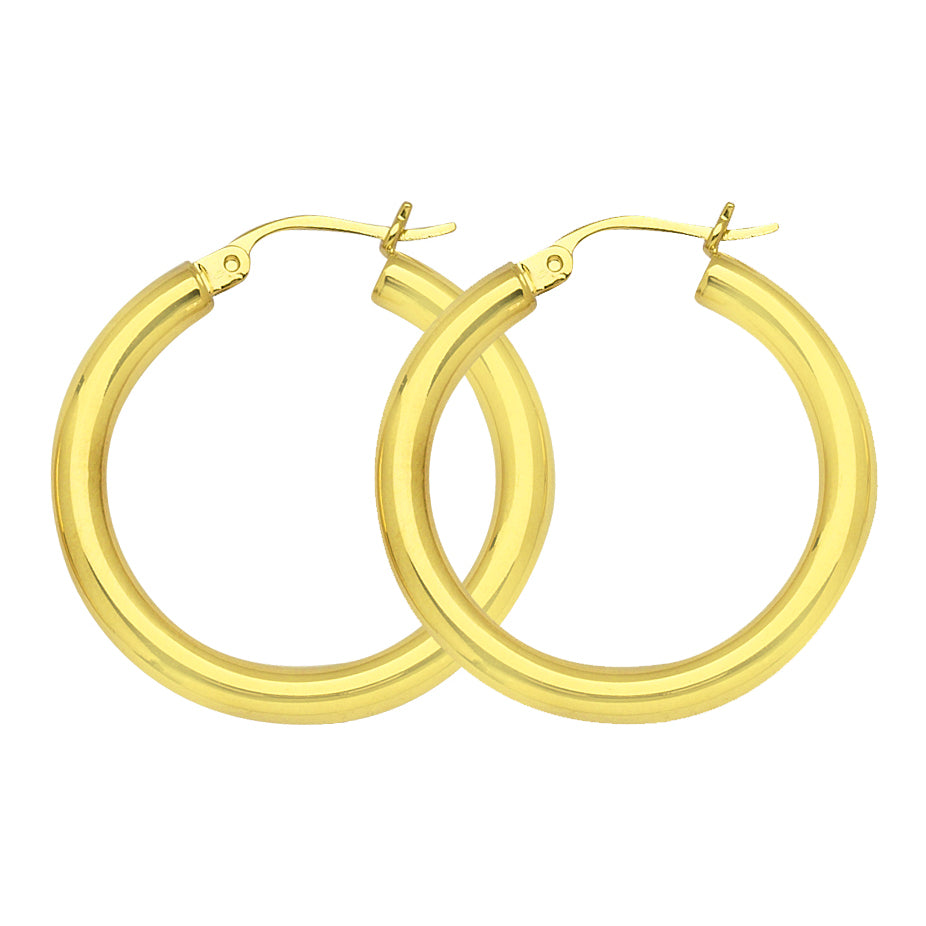 "10K Yellow Gold 3 mm Polished Round Hoop Earrings 0.8"" Diameter"