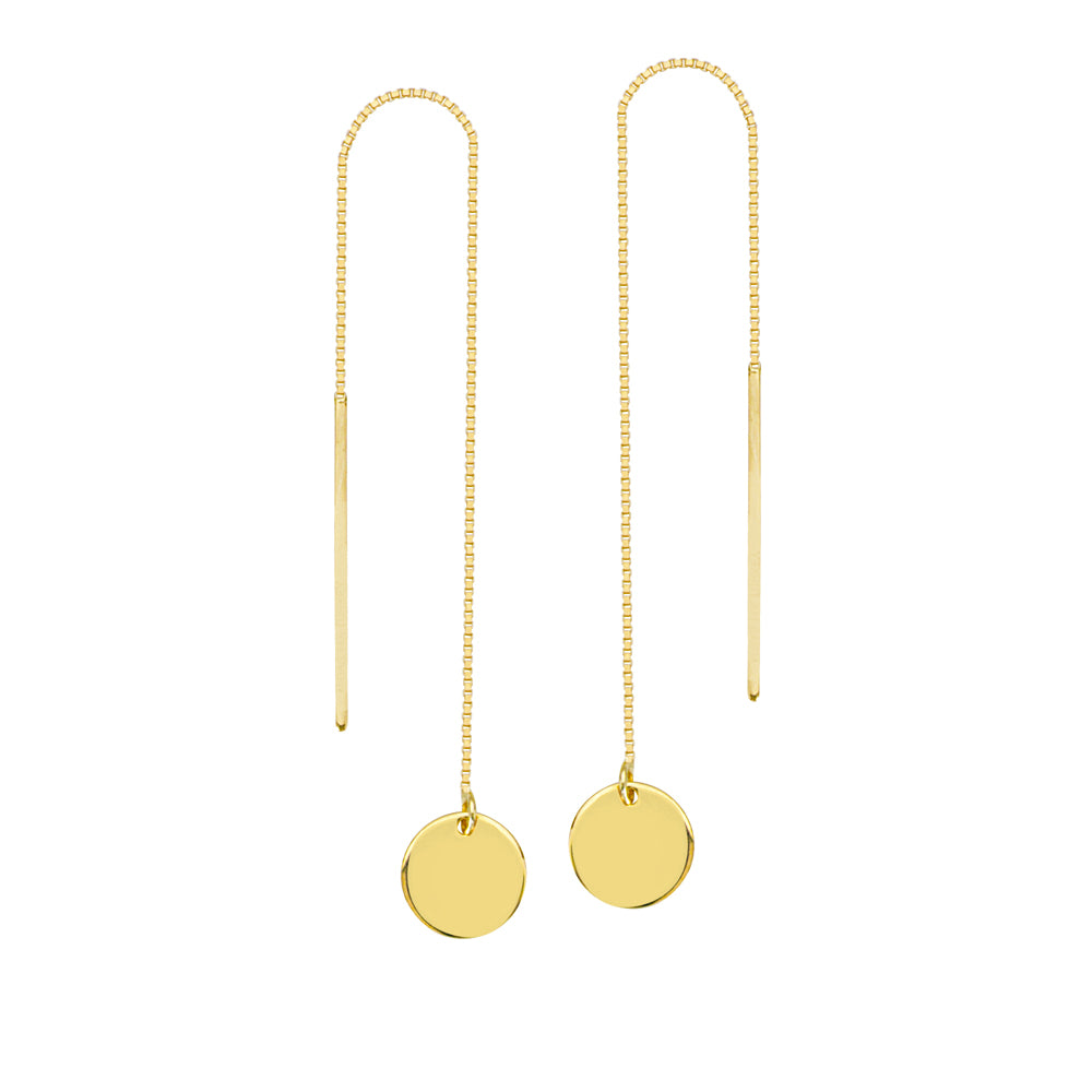 14K Yellow Gold Engraveable Round Disk Threader Earring