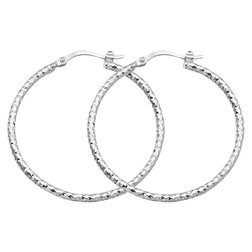 "925 White Sterling Silver 2 mm Full All Around Diamond Cut Hoop Earrings 1.6"" Diameter"