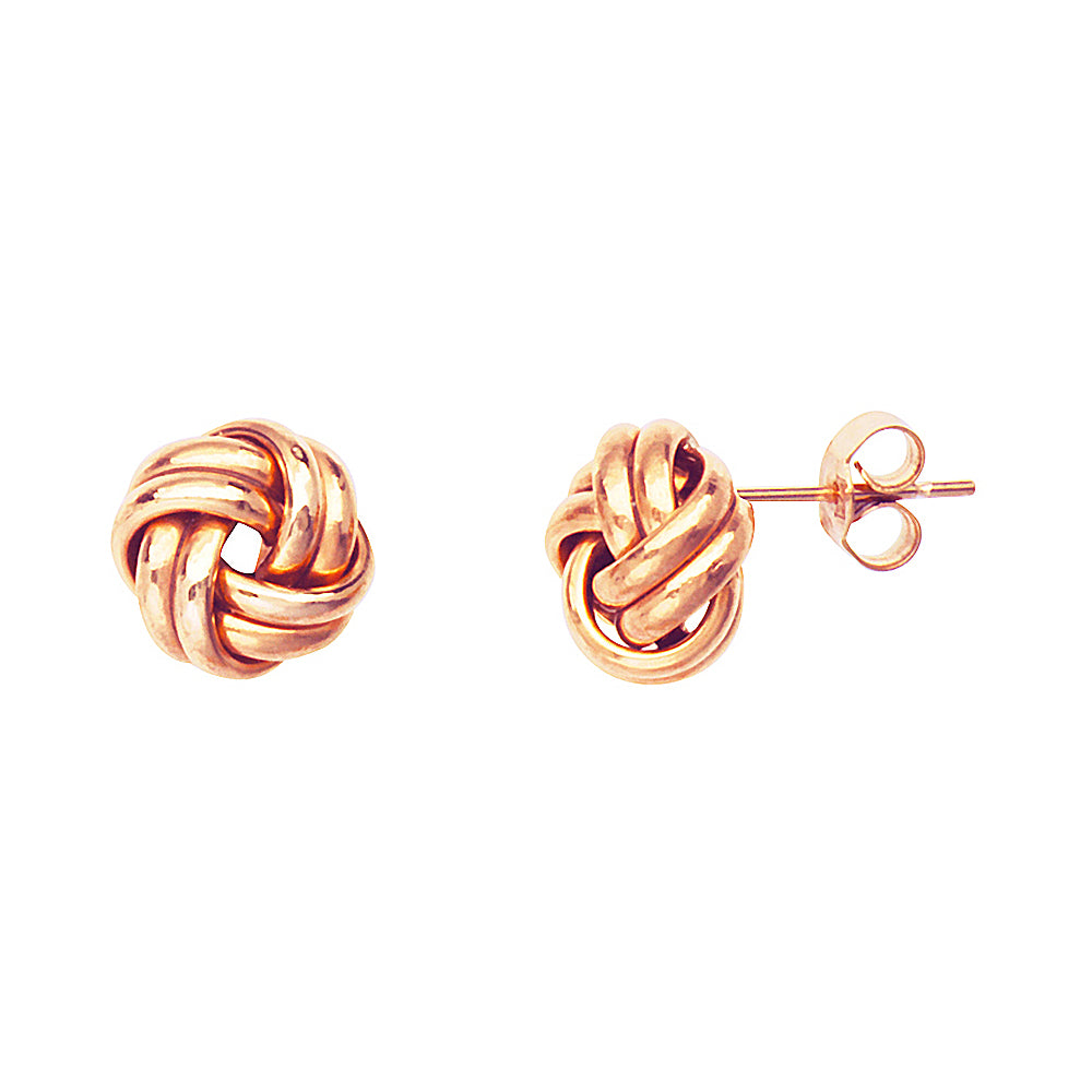 14K Rose Gold Medium Double Tube Love Knot Earring