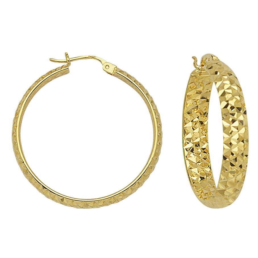"14K Yellow Gold 4 mm Diamond Cut Hoop Earrings 1"" Diameter"