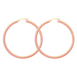 14K Rose Gold Rope Twist 3 mm Hoop Earrings