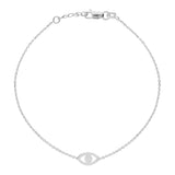 "14K White Gold Evil Eye Bracelet. Adjustable Diamond Cut Cable Chain 7"" to 7.50"""