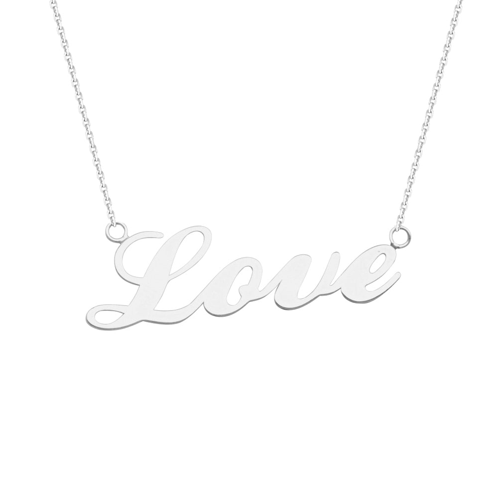 "14K White Gold Love Necklace. Adjustable Cable Chain 16"" to 18"""
