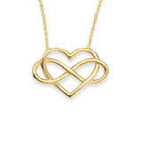 "14K Yellow Gold Infinite Love Heart and Infitnity Necklace. Adjustable Cable Chain 16""-18"""