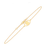 "14K Yellow Gold Evil Eye Bracelet. Adjustable Diamond Cut Cable Chain 7"" to 7.50"""