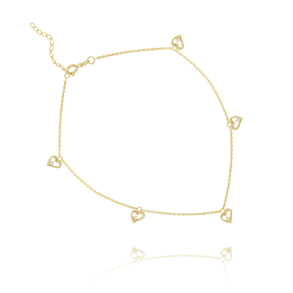 "14K Yellow Gold Heart Anklet 10"" length"