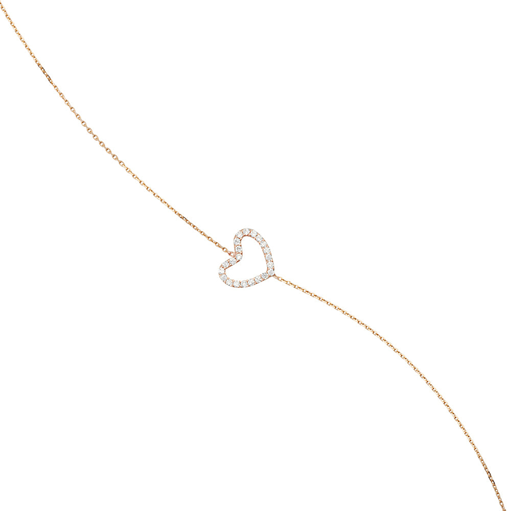 "14K Rose Gold Open Heart Cubic Zirconia Bracelet. Adjustable Cable Chain 7"" to 7.50"""