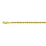 10K Yellow Gold 3 Diamond Cut Rope Chain in 20 inch, 22 inch, 24 inch, & 30 inch