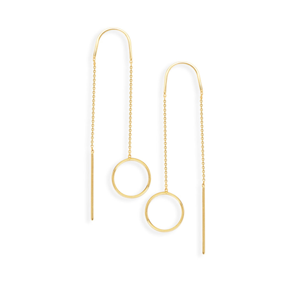 14K Yellow Gold Open Circle Threader Earring