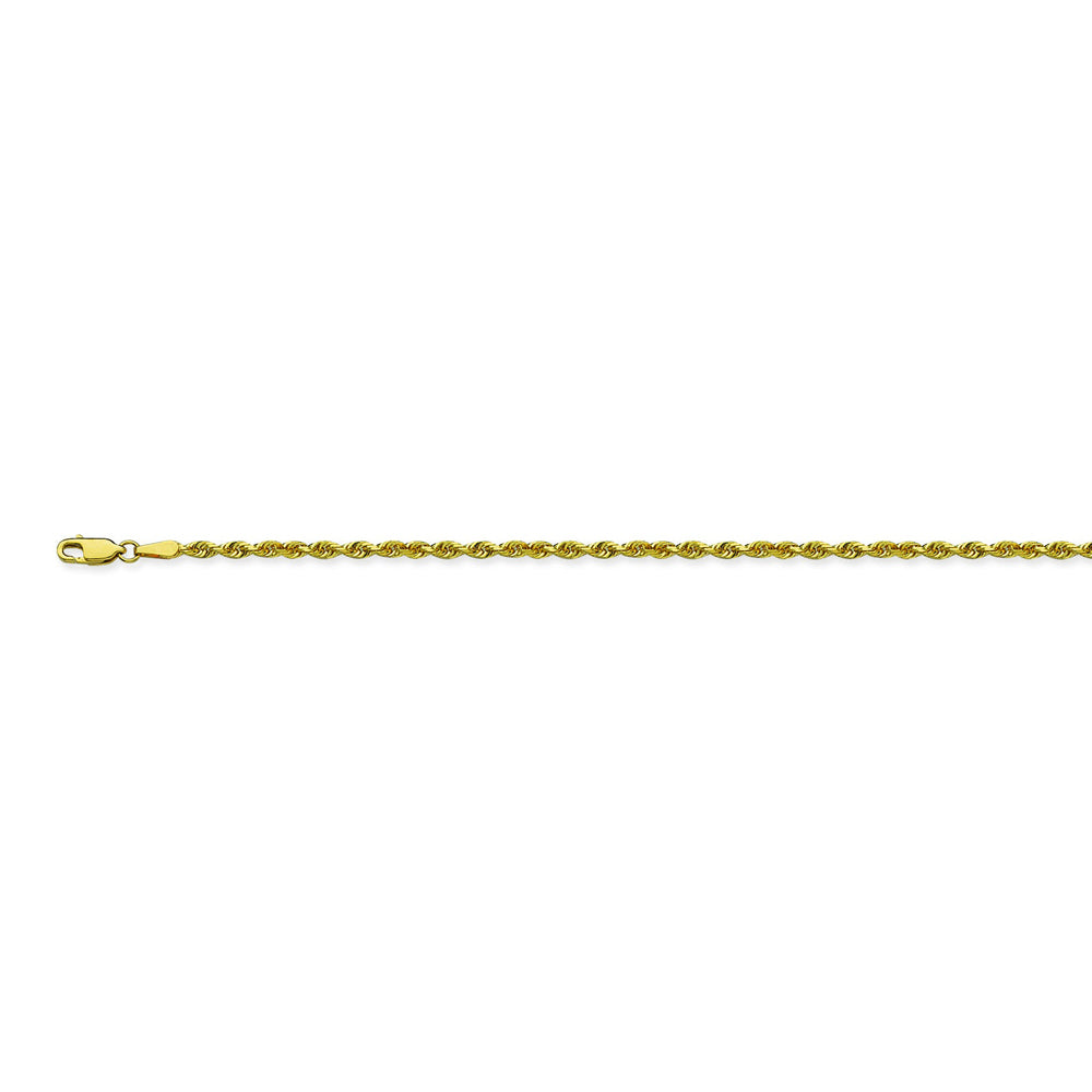 14K Yellow Gold 2.15 Diamond Cut Rope Chain in 16 inch, 18 inch, 20 inch, 22 inch, 24 inch, & 30 inch