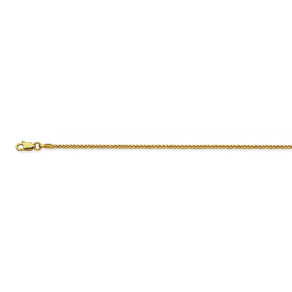 14K Yellow Gold 1.25 Light Square Wheat Chain in 16 inch, 18 inch, 20 inch, & 24 inch