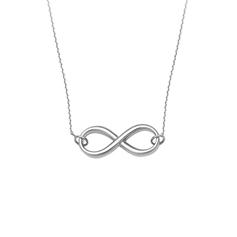 "14K White Gold Infinity Necklace. Adjustable Cable Chain 16"" to 18"""