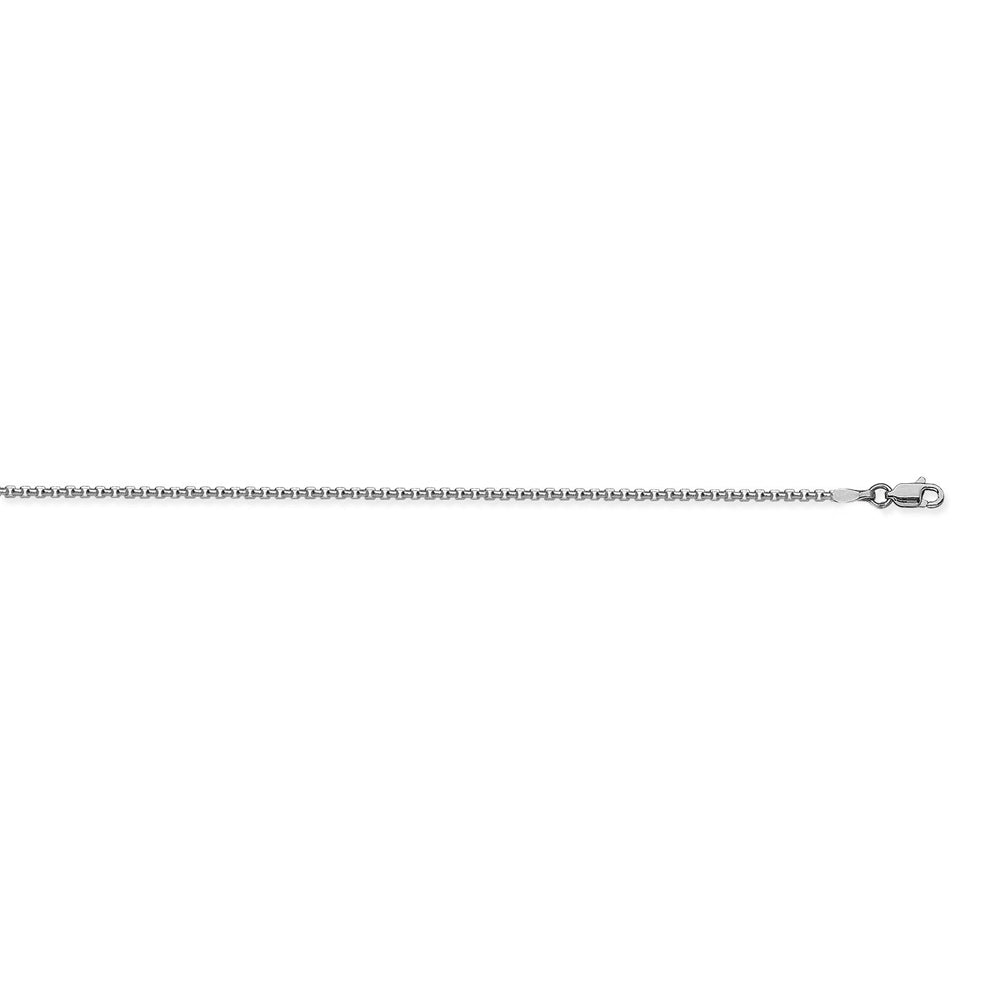 14K White Gold 1.8 Round Box Chain in 16 inch, 18 inch, 20 inch, & 24 inch