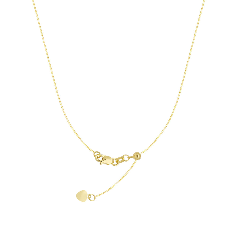 "22"" Adjustable Box Chain Necklace with Slider 14K Yellow Gold 0.96 mm 4.05 grams"