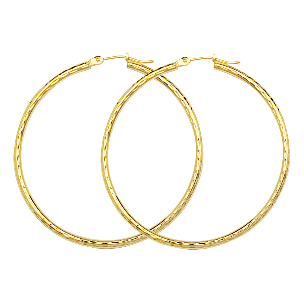 "10K Yellow Gold 2 mm Diamond Cut Hoop Earrings 1.2"" Diameter"