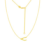 "14K Yellow Gold Sideways Wish Bone Necklace. Adjustable Cable Chain 16"" to 18"""