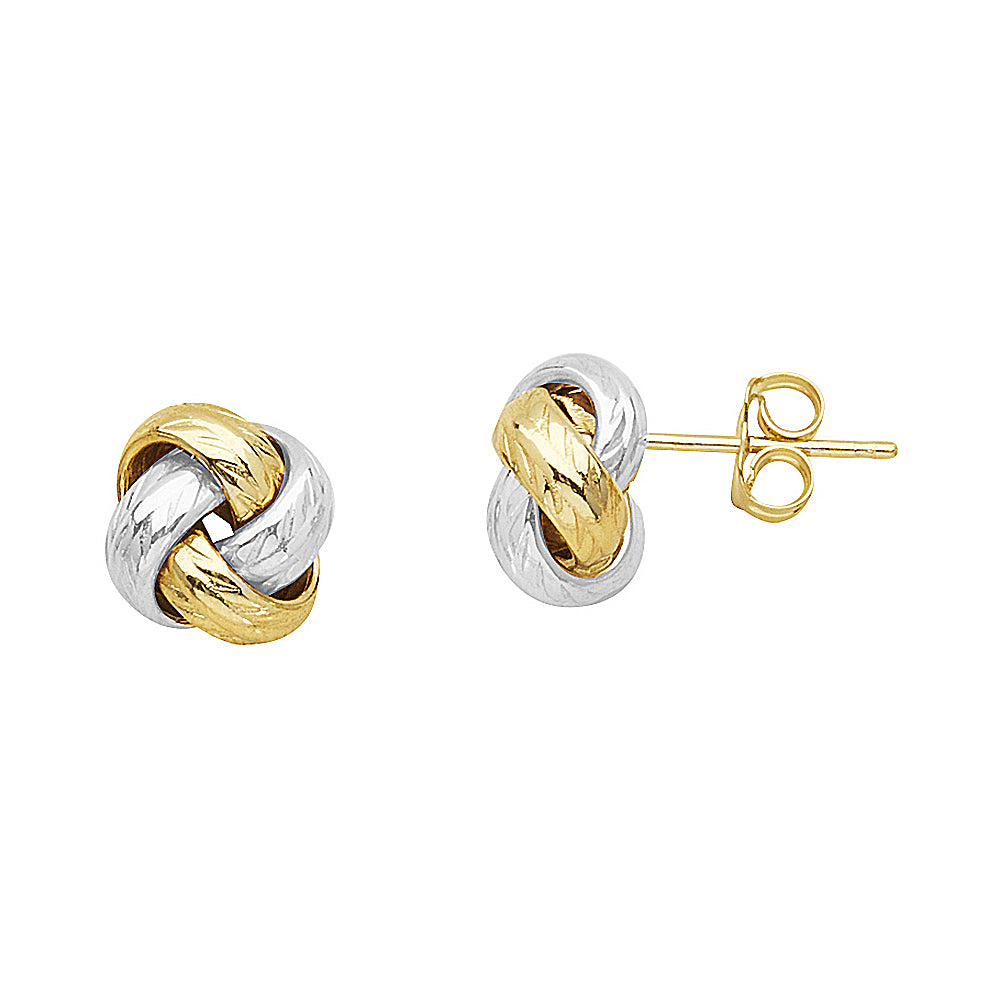 14K Yellow|White Gold Fancy Diamond Cut Love Knot Earring