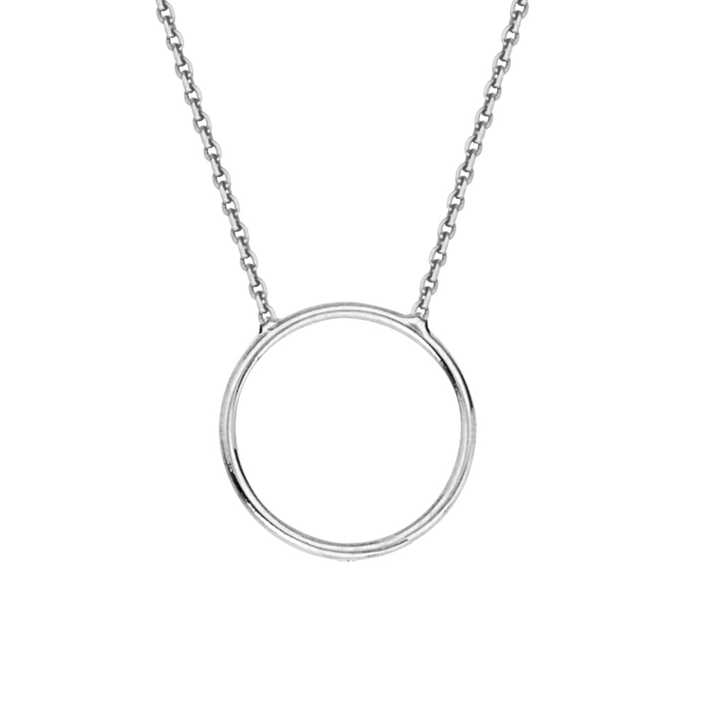 "14K White Gold Circle Necklace. Adjustable Cable Chain 16"" to 18"""