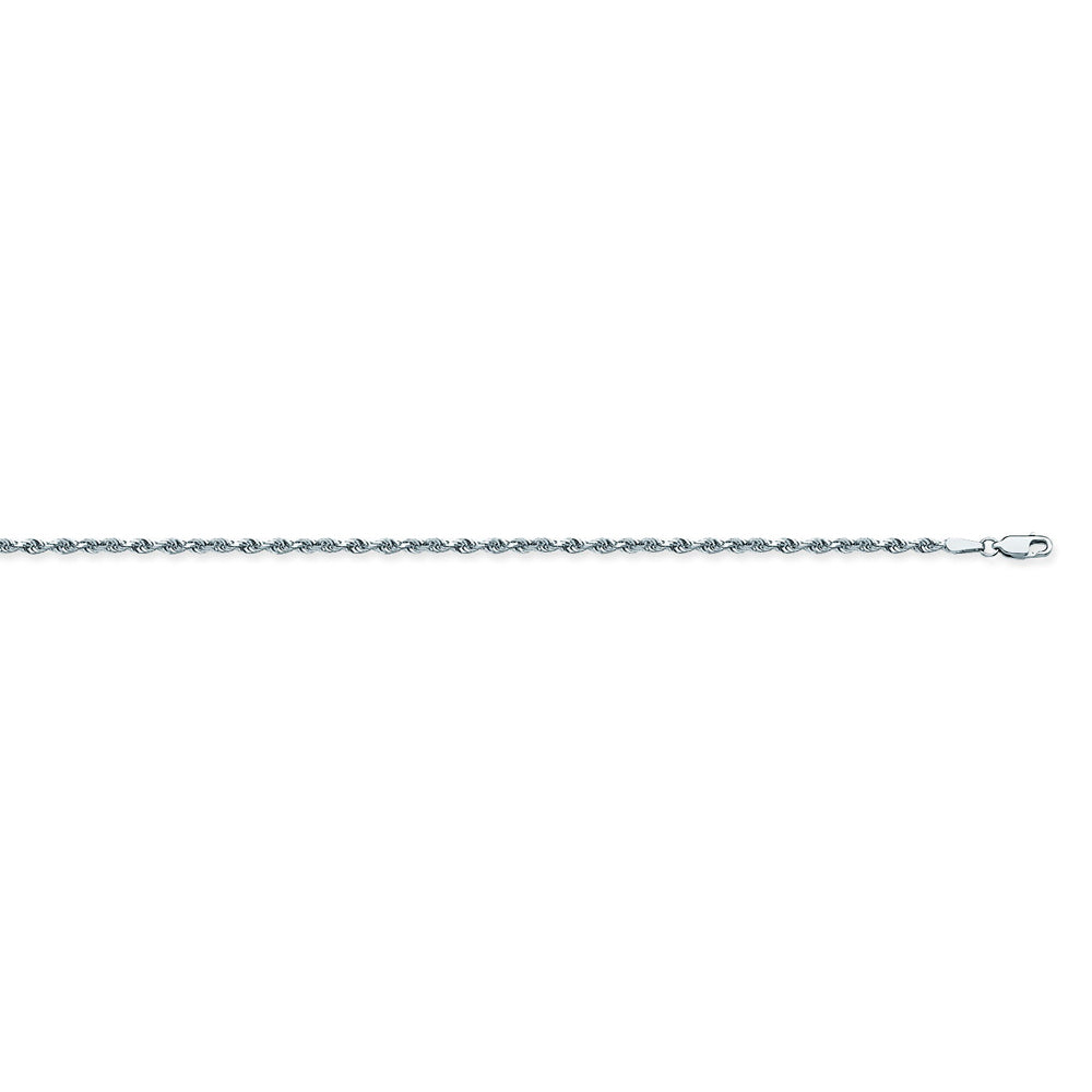 925 Sterling Silver 2 Diamond Cut Rope Chain in 16 inch, 18 inch, 20 inch, & 24 inch