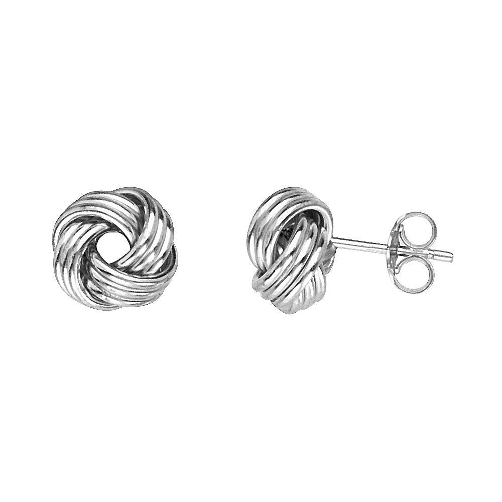 14K White Gold Medium Tripple Tube Love Knot Earring