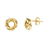 14K Yellow Gold Open Double Tube Small Love Knot Earring