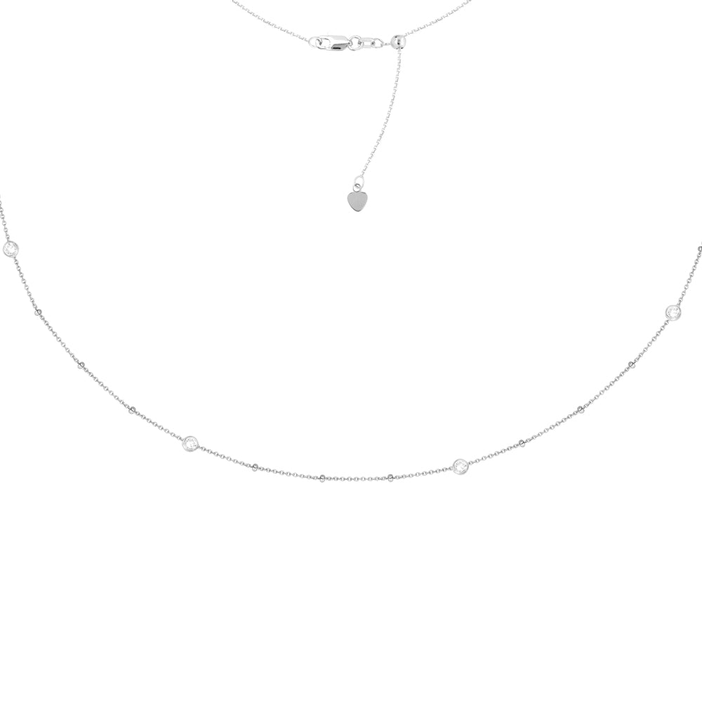 "Sterling Silver Cubic Zirconia Bezel Set with Saturn Chain Choker Necklace. Adjustable 10""-16"""