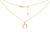 "14K Yellow Gold Half Moon Charm Diamond Choker Necklace. Adjustable 10""-16"""