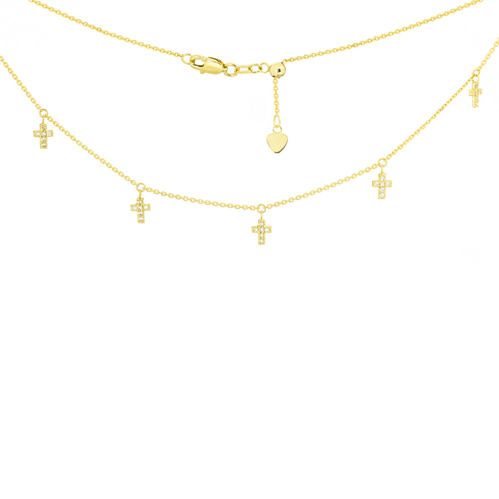"14K Yellow Gold Mini Cross Cubic Zirconia Choker Necklace. Adjustable 10""-16"""