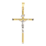 14K Two Tone Gold INRI Crucifix Cross Pendant