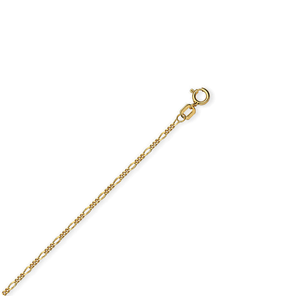 14K Yellow Gold 13-15 inch Childrens Adjustable Figaro Chain 1.28 mm 1.5 grams
