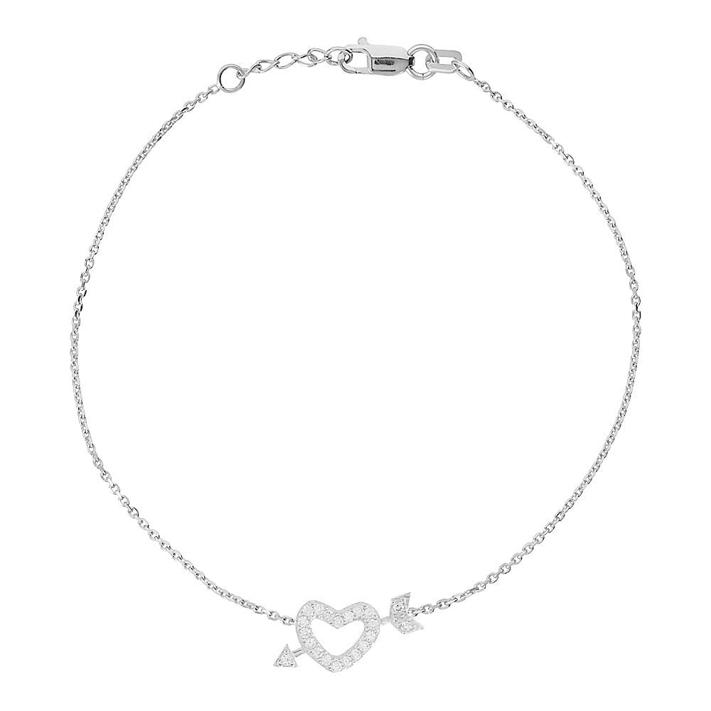 "14K White Gold Heart & Arrow Bracelet. Adjustable Diamond Cut Cable Chain 7"" to 7.50"""