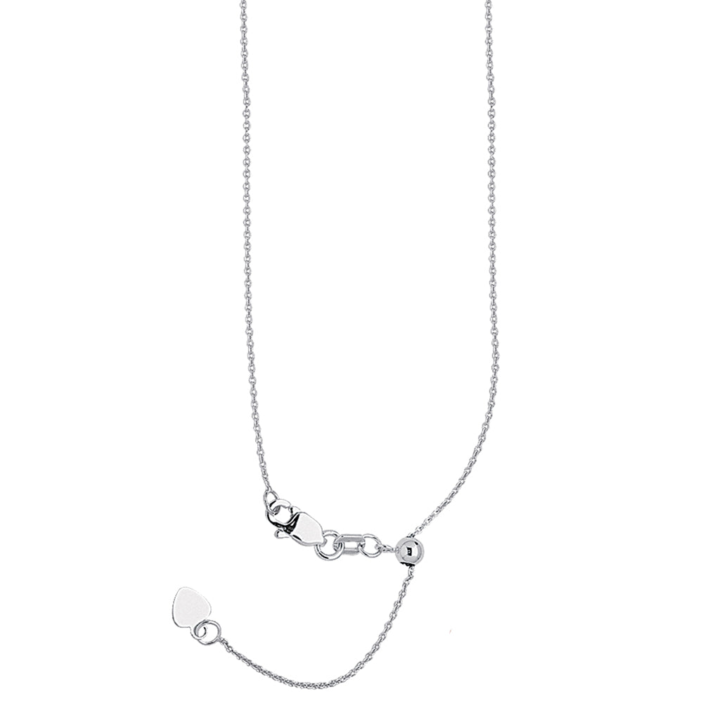 "22"" Adjustable Cable Chain Necklace with Slider 14K White Gold 0.9 mm 2.1 grams"