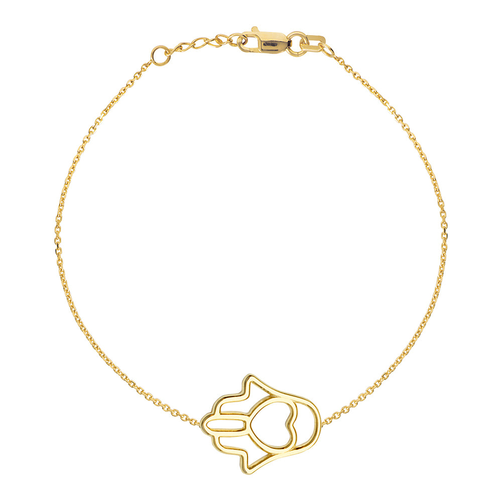 "14K Yellow Gold Sideways Hamsa Hand With Heart Bracelet. Adjustable Cable Chain 7"" to 7.50"""