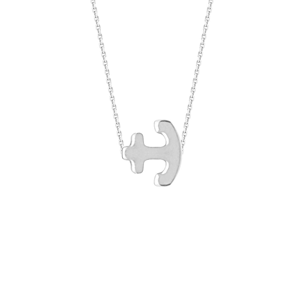 "14K White Gold Sideways Anchor Necklace. Adjustable Cable Chain 16"" to 18"""