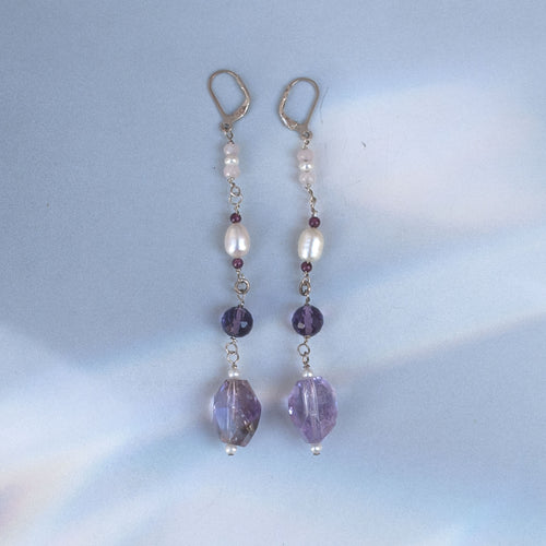 Amethyst Long Pendant Earrings - PROTECTION - PURIFICATION