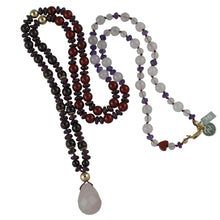 "Load image into Gallery viewer, Maria's Long Gemstone Necklace 32"". LOVE - PROSPERITY - CONFIDENCE"