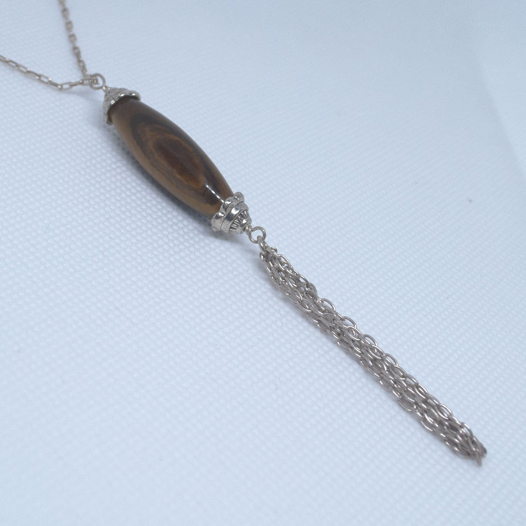 Tiger eye long bead silver necklace with tassel