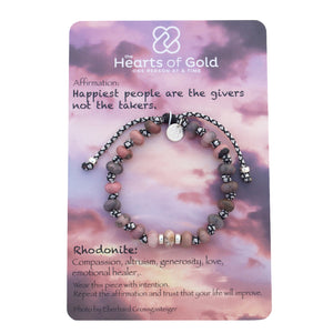 Rhodonite Bracelet. COMPASSION - LOVE - GENEROSITY