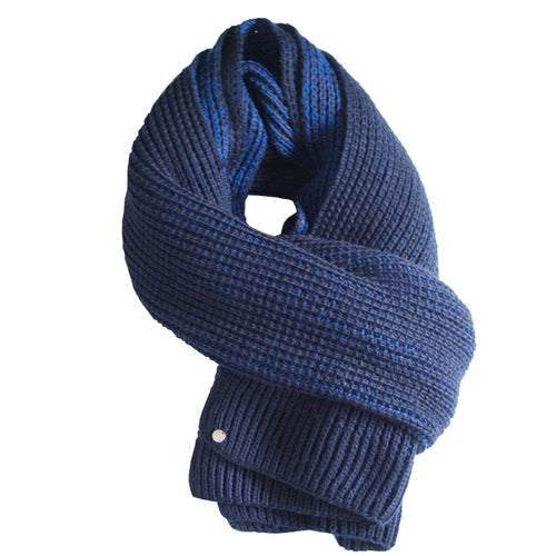 Night Blue And Navy Blue Hand Loomed Scarf