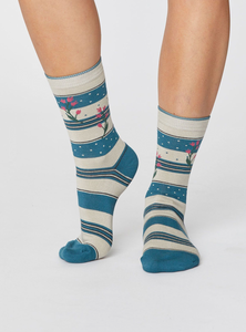 Bamboo Socks - Floral & Stripe: Kingfisher Green