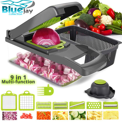 Vegetable Cutter 6 Dicing Blades Mandoline Slicer 9 in 1 multi-function