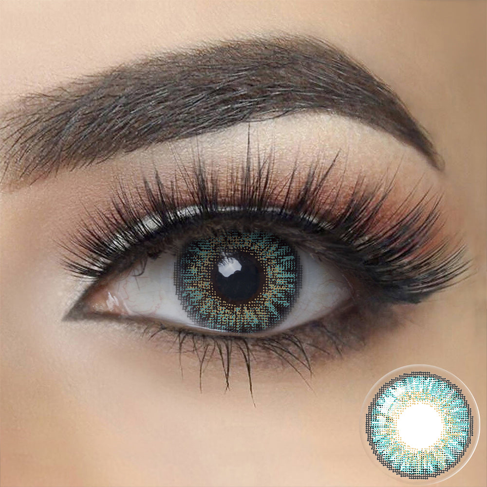 3 Tone TURQUOISE Colored Contact Lenses
