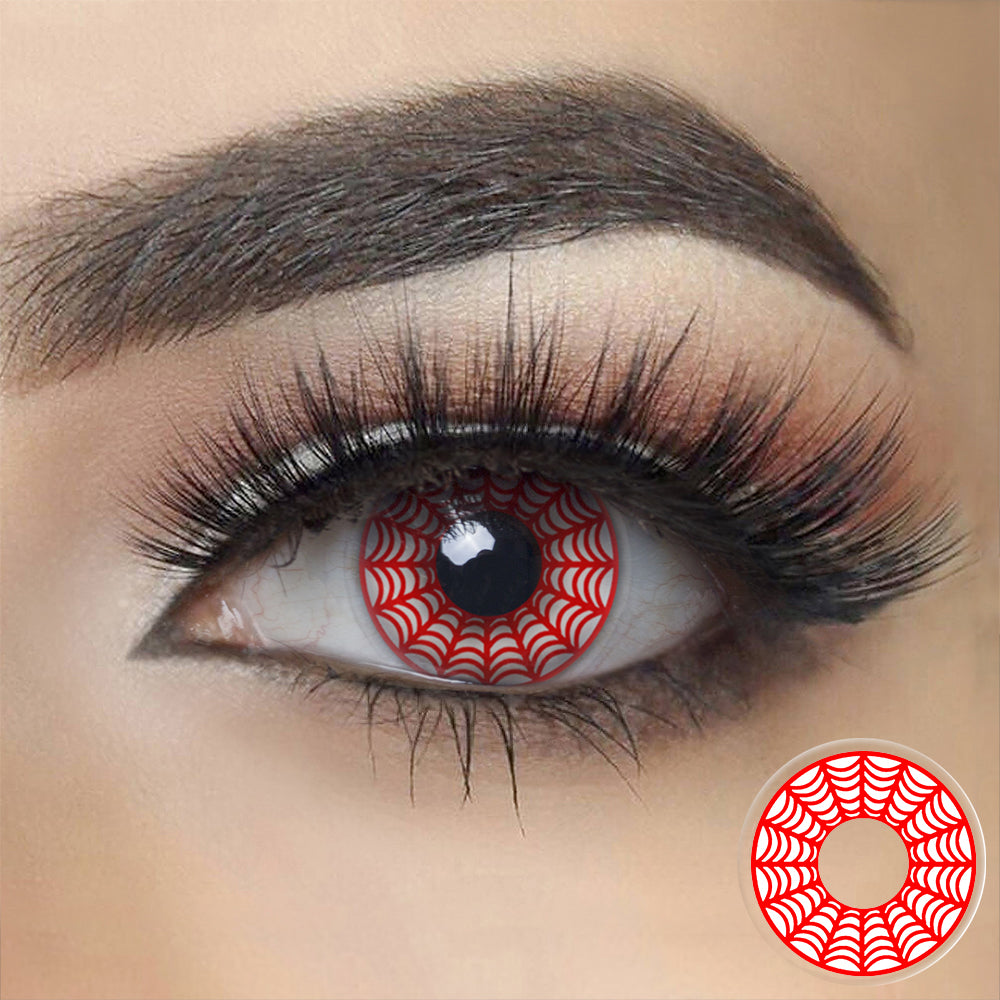 Red Spider Web Halloween Contacts