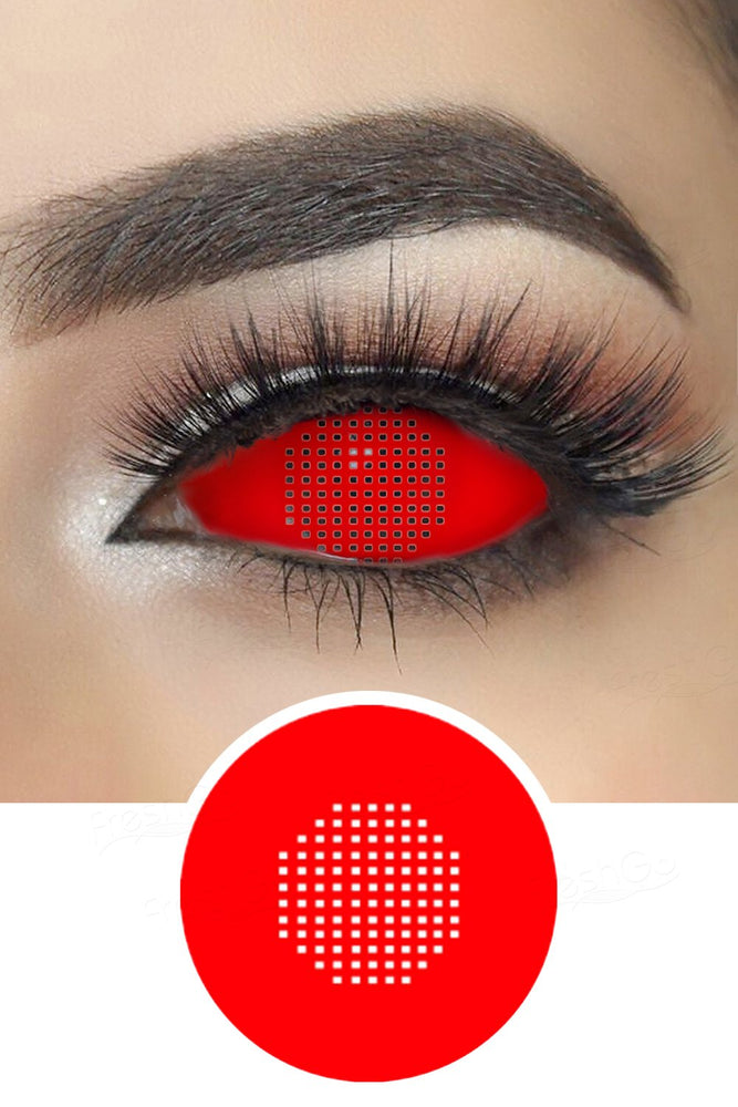 Red Mesh Sclera Cosplay Contacts Lenses
