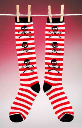 Skull Striped Knee Socks - darkcatmansion
