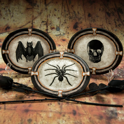 Bat, Skull, and Spider Plate Set - Dark Cat Mansion