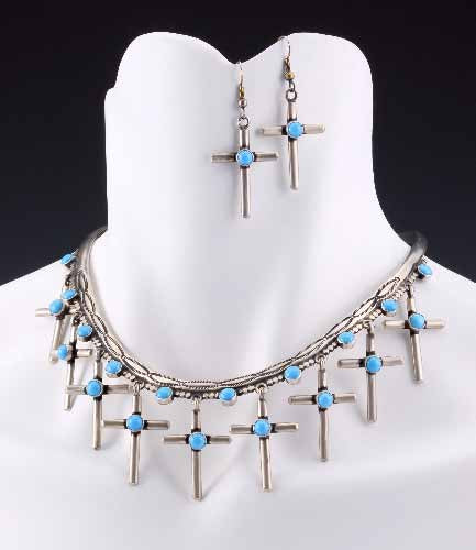 Multi-Cross Turquoise and Sterling Silver Choker Set - darkcatmansion